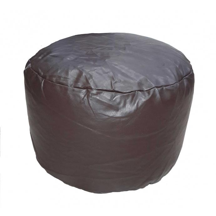 Pouf Rond en imitation Cuir (Chocolat)