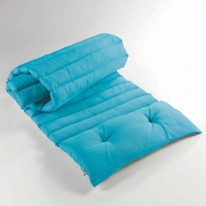 Matelas Bain de Soleil en Coton Uni (Turquoise)