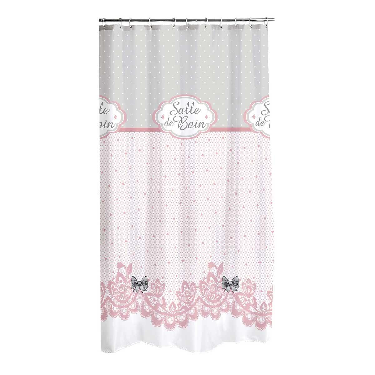 Rideau De Douche Esprit Girly Rose Et Blanc Homebain Vente