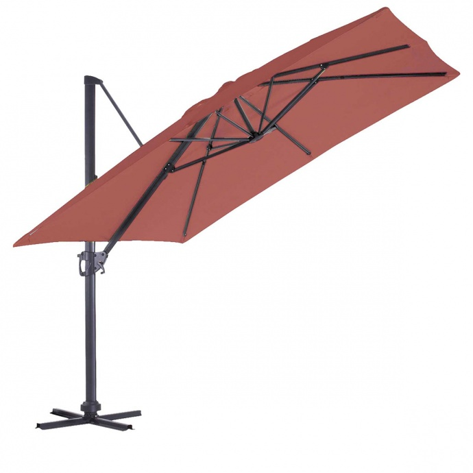 Parasol en Aluminium à Pied Déporté de 3 x 3 m (Rouge)