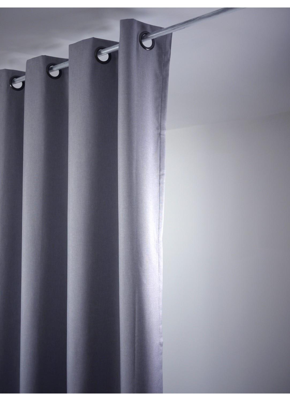rideau uni occultant avec oeillets gris clair gris. Black Bedroom Furniture Sets. Home Design Ideas