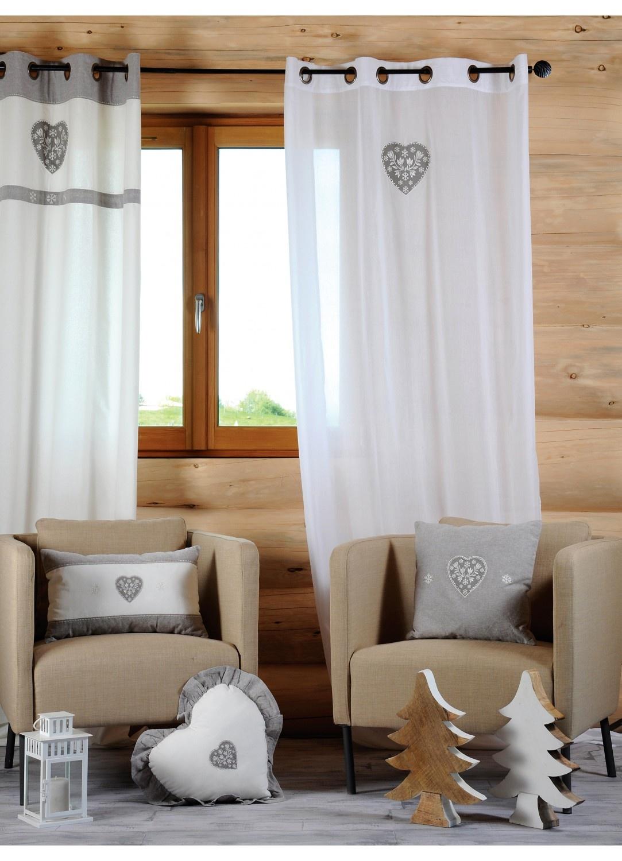 Voilage uni en voile de coton avec coeur brodé (Blanc)