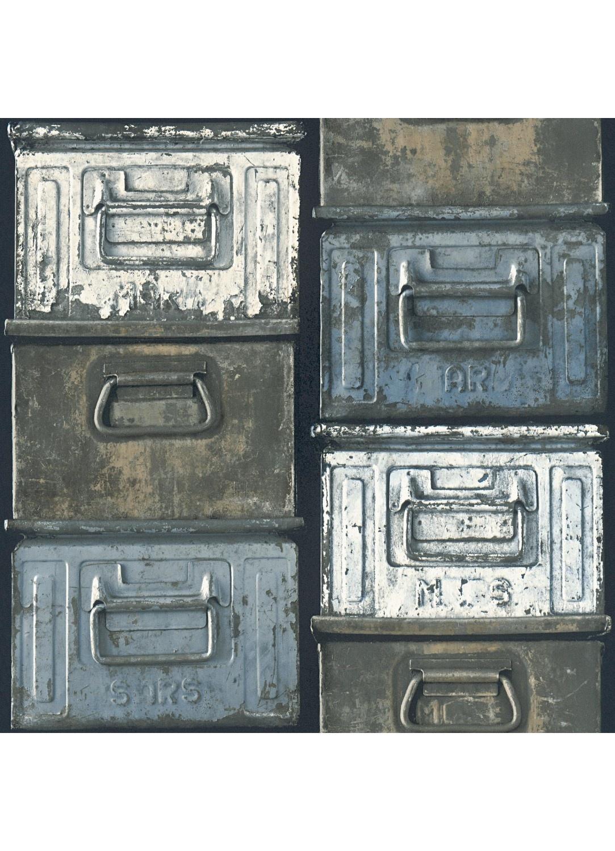Papier Peint A L Esprit Indus Motifs Boites Metalliques Gris
