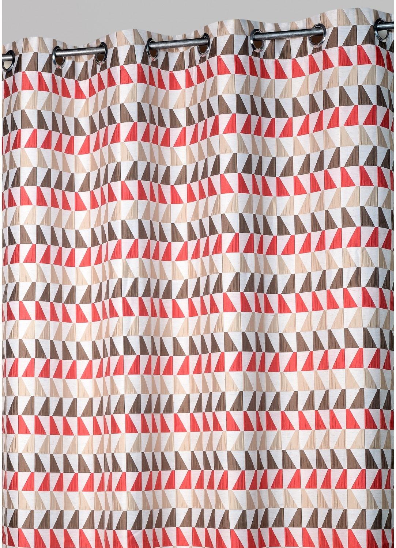Rideau jacquard motifs tricolores (Rouge)