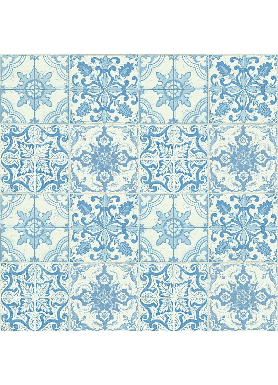 Papier Peint Motifs Azuleros Bleu Blanc Ecru Homemaison