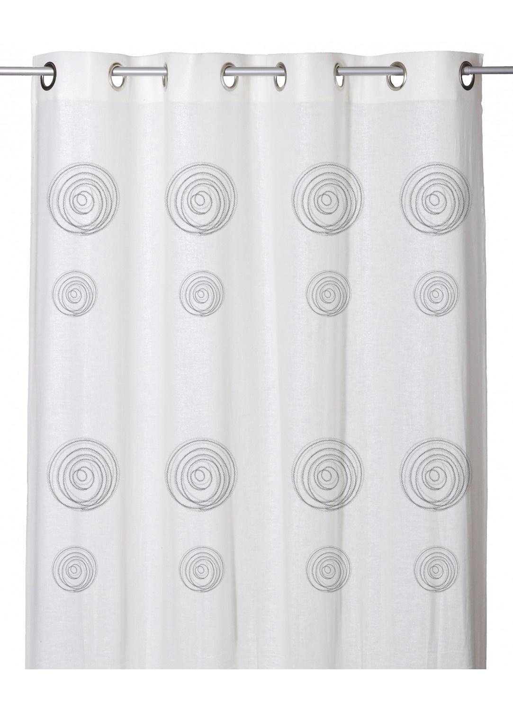 Voilage Effet Etamine de Lin à Imprimés Spirales (Blanc)