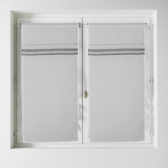 Voilage à la paire effet lin avec parement 60x160 (Blanc)