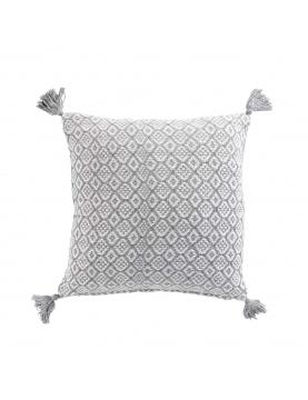 coussin coton déhoussable à pompons
