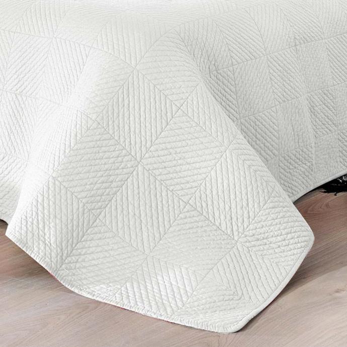 Couvre lit matelassé façon boutis en coton (Blanc)