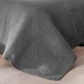 Couvre lit matelassé façon boutis en coton (Gris Foncé)