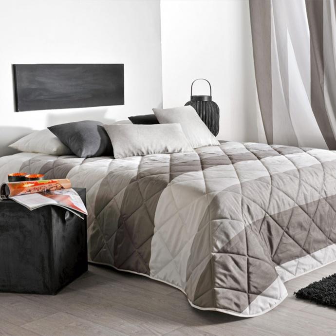 Couvre lit matelassé à bandes horizontales (Blanc)