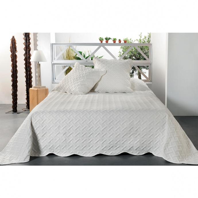 Jeté de lit aux formes géométriques surpiquées  (Ecru)