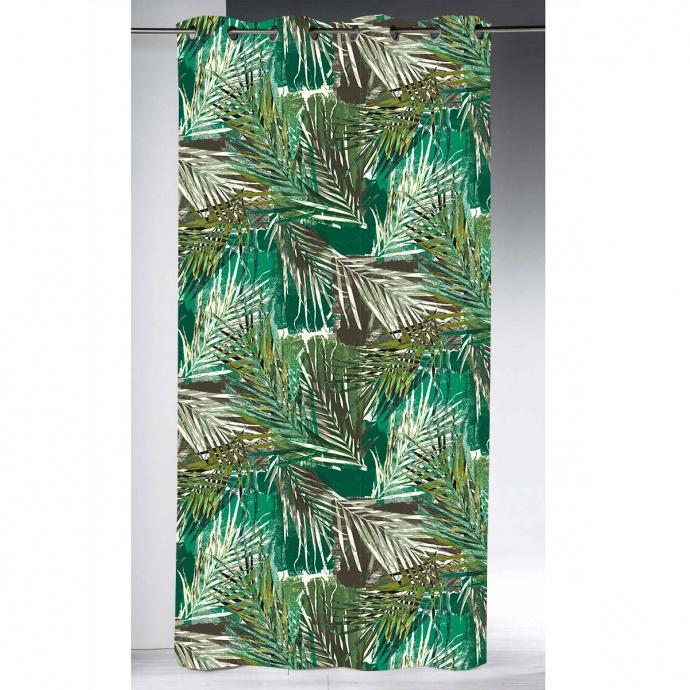 Rideau obscurcissant imprimé ambiance tropicale (Vert)