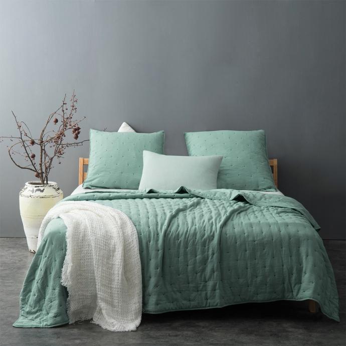 Couvre lit matelassé et moelleux (Vert)