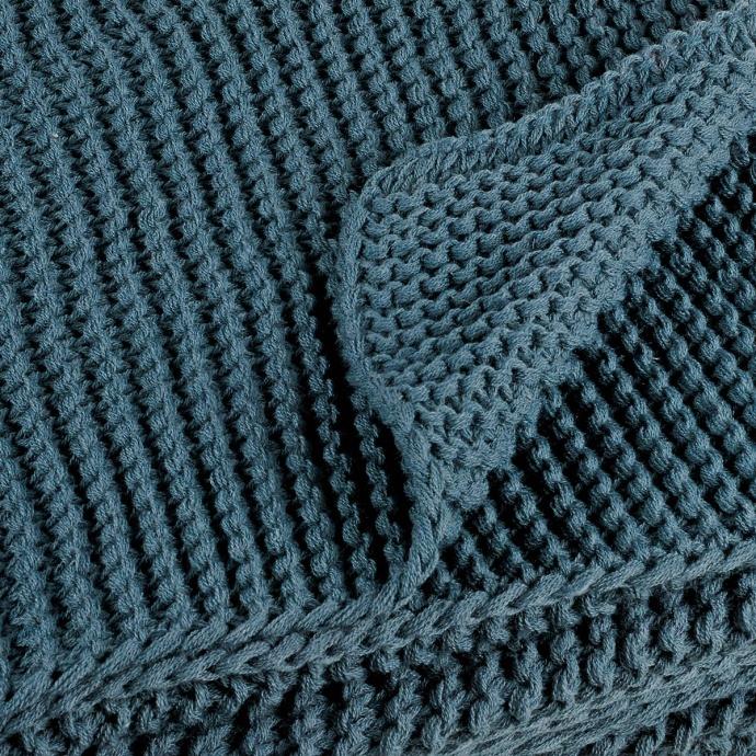 Plaid uni tricoté grosses mailles (Bleu)