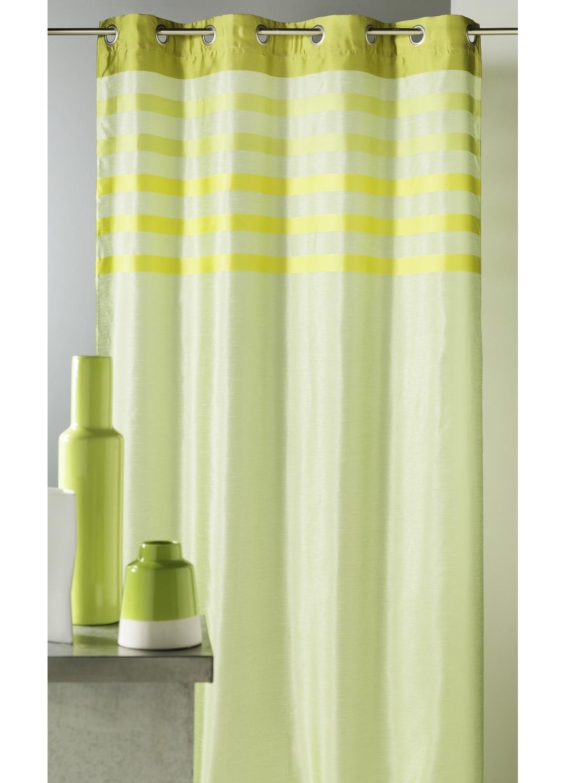 Rideau en shantung coloré avec parement ton sur ton (Anis)