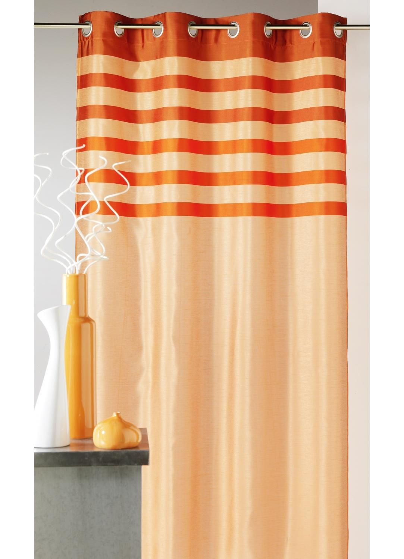 Rideau en shantung coloré avec parement ton sur ton (Orange)