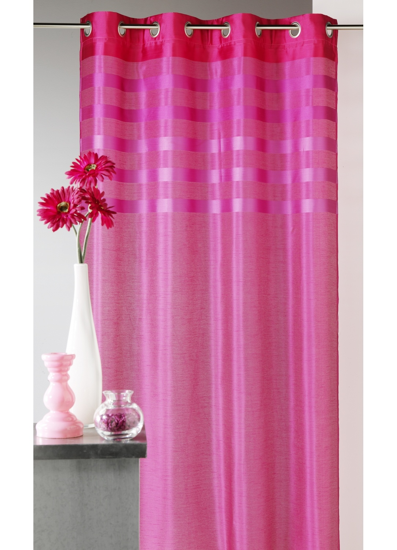 Rideau en shantung coloré avec parement ton sur ton (Rose)