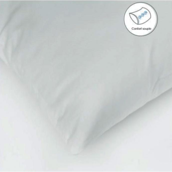 Oreiller Carré Enveloppe Coton Protection (Blanc)