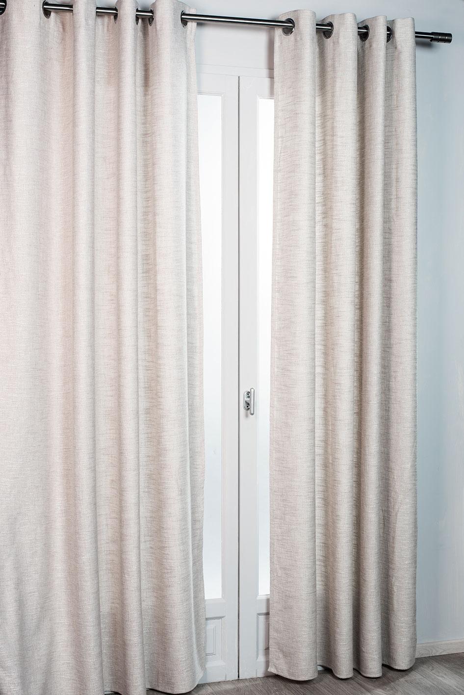 Rideau d'ameublement aspect laine chinée (Beige)