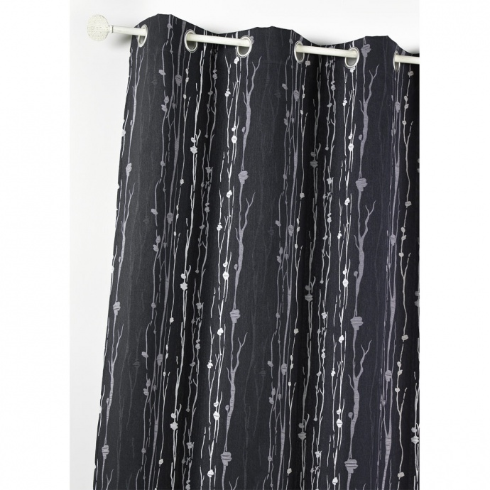 Cortina jacquard dibujo raíces en relieve (Negro)