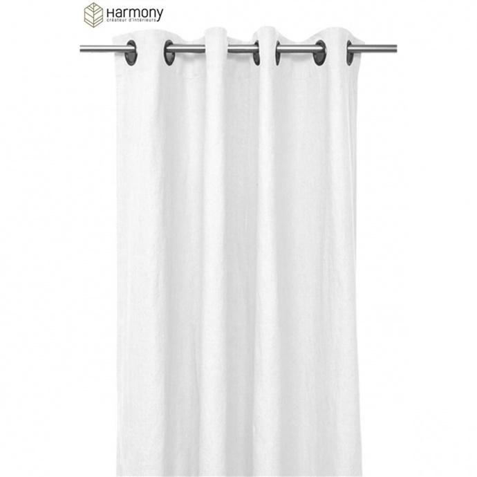 Rideau Uni et Coloré Harmony en 100% lin (Blanc)