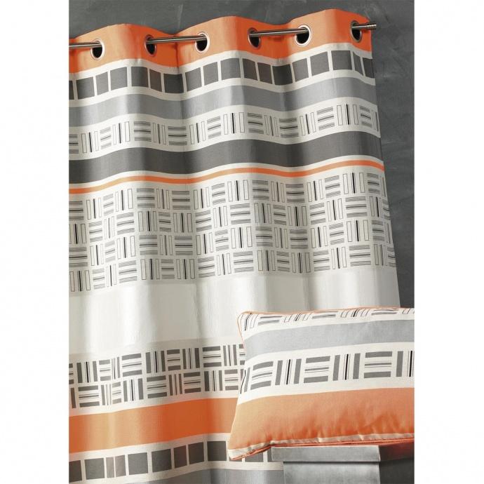 Rideau en jacquard design à rayures horizontales (Orange)