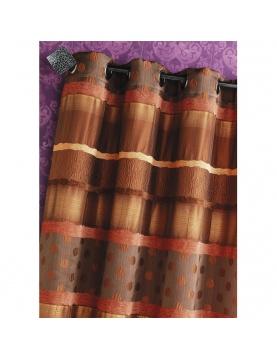 Jacquardvorhang mit Querstreifen und Punkten