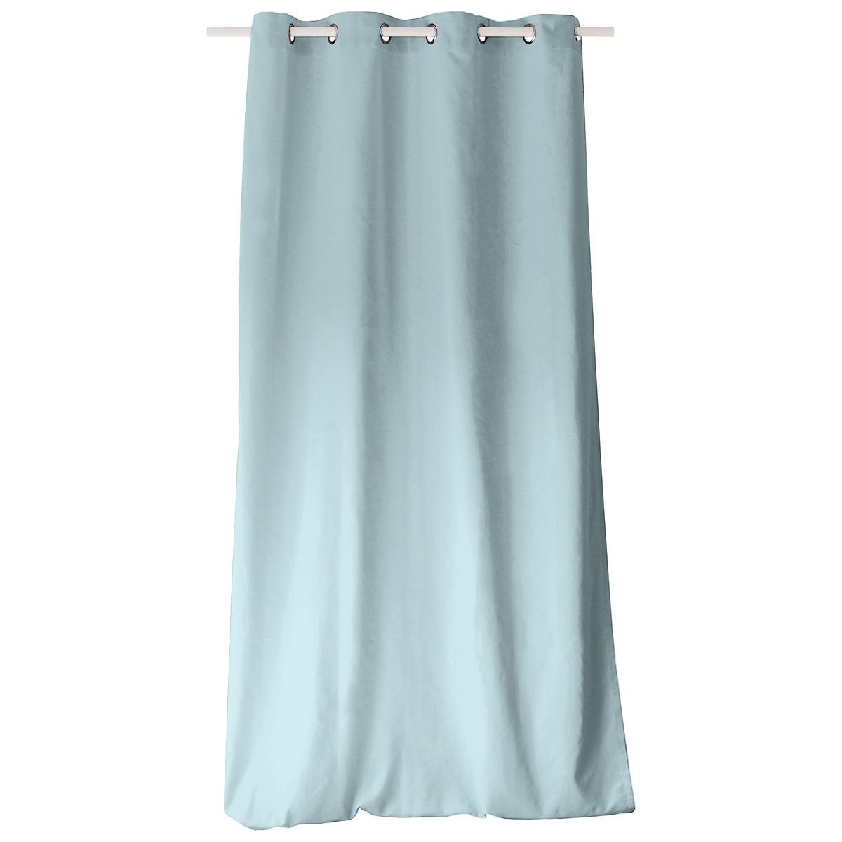 rideau color en pur coton 8 illets bleu gris fuschia. Black Bedroom Furniture Sets. Home Design Ideas