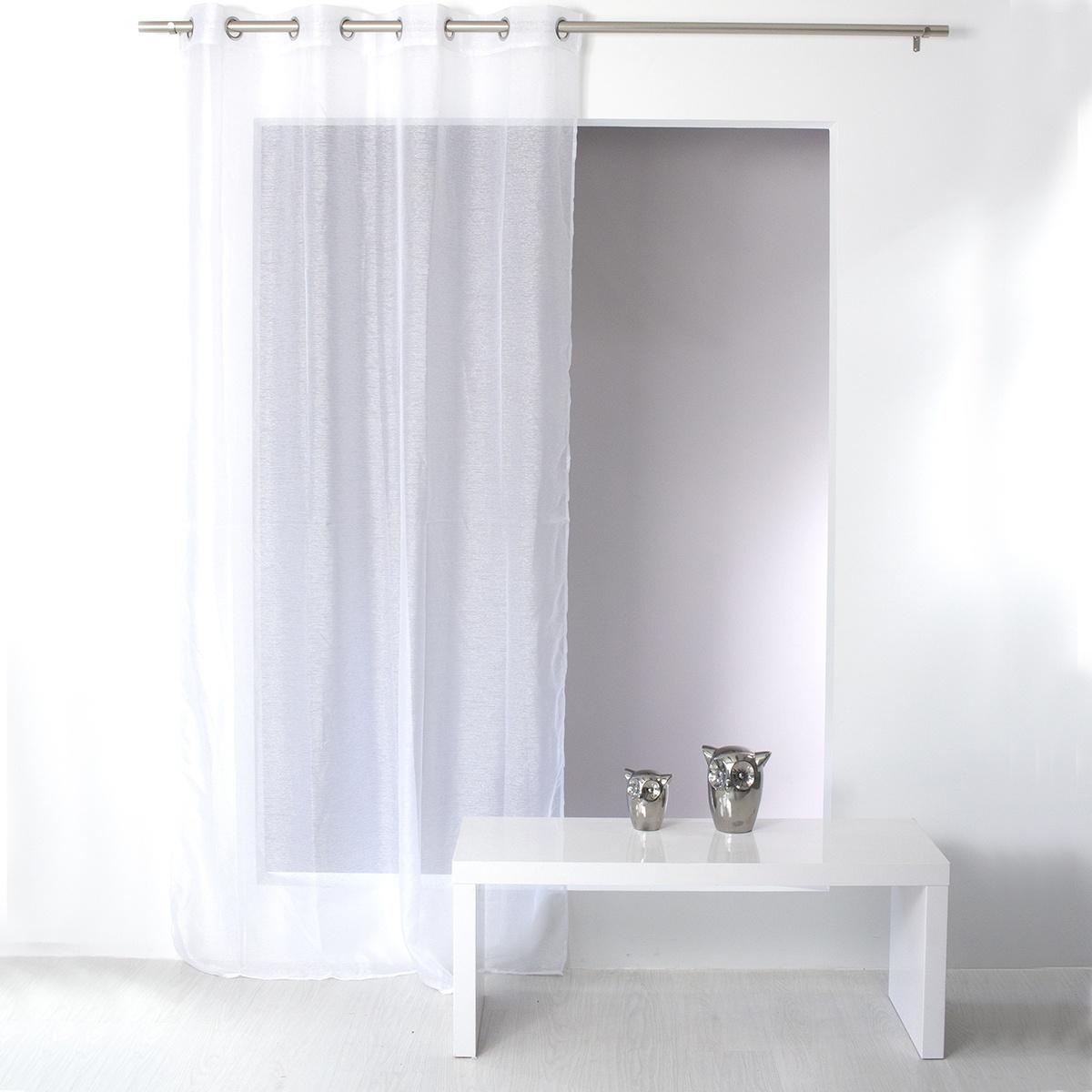 Voilage Uni en Polyester Sablé (Blanc)