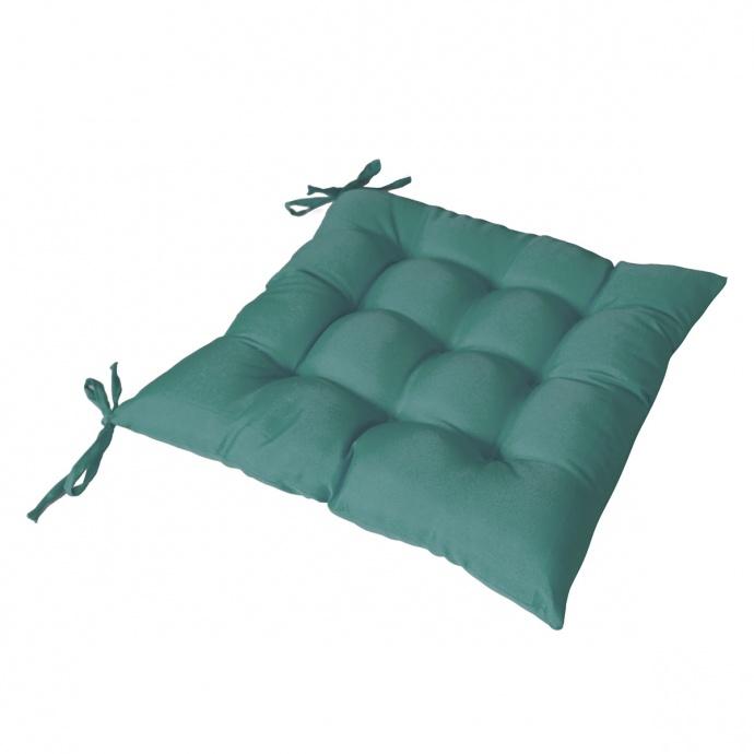 Galette de chaise piquée avec 2 nouettes (vert foncé)