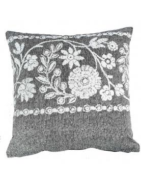 Coussin déhoussable imprimé géométrie et fleurs