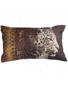 Coussin imprimé tête de léopard