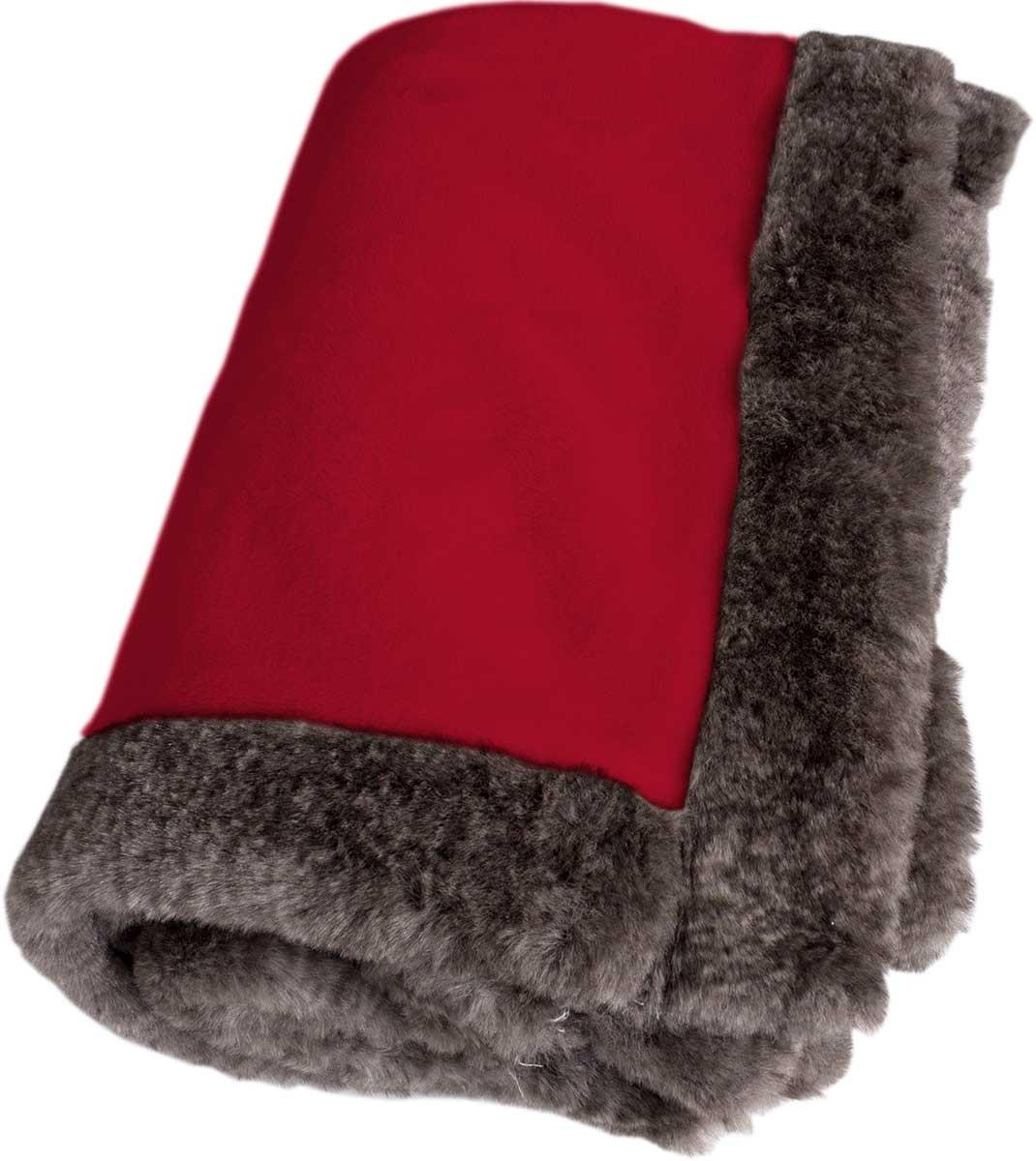 Plaid en Flannelle avec Bordure Fourrure (Rouge)