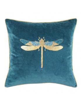 Coussin velours imprimé libellule avec perles brodées
