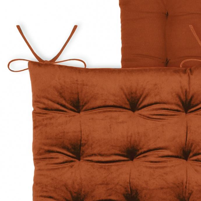 Galette de chaise unie en velours  (Brique)
