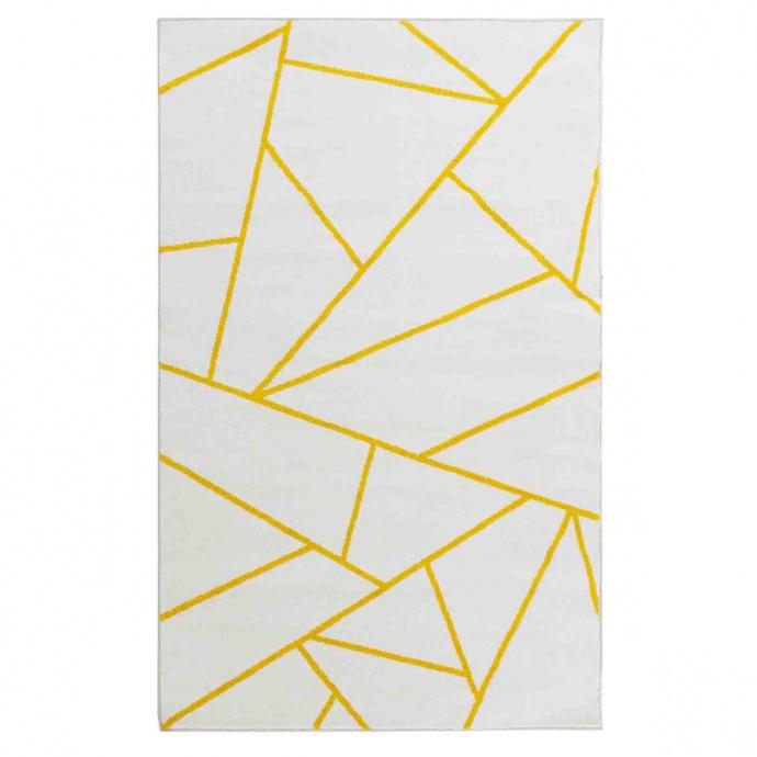 Tapis à impressions segmentées jaunes (Blanc)