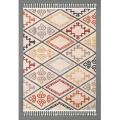 Tapis frangé à motifs ethniques ( Multicolore)