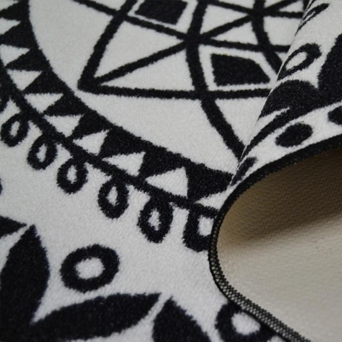 Tapis rond imprimé mandala (Noir)
