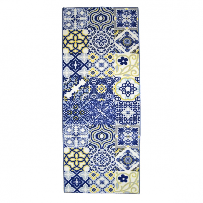 Tapis imprimé mosaïque (Bleu)