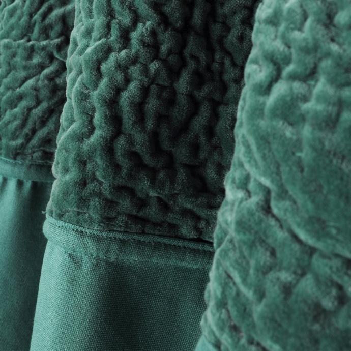 Rideau bi-matière parement velours (emeraude)