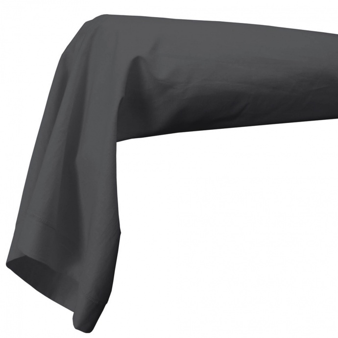 Housse de traversin percale 86 x 140 cm unie (Anthracite)