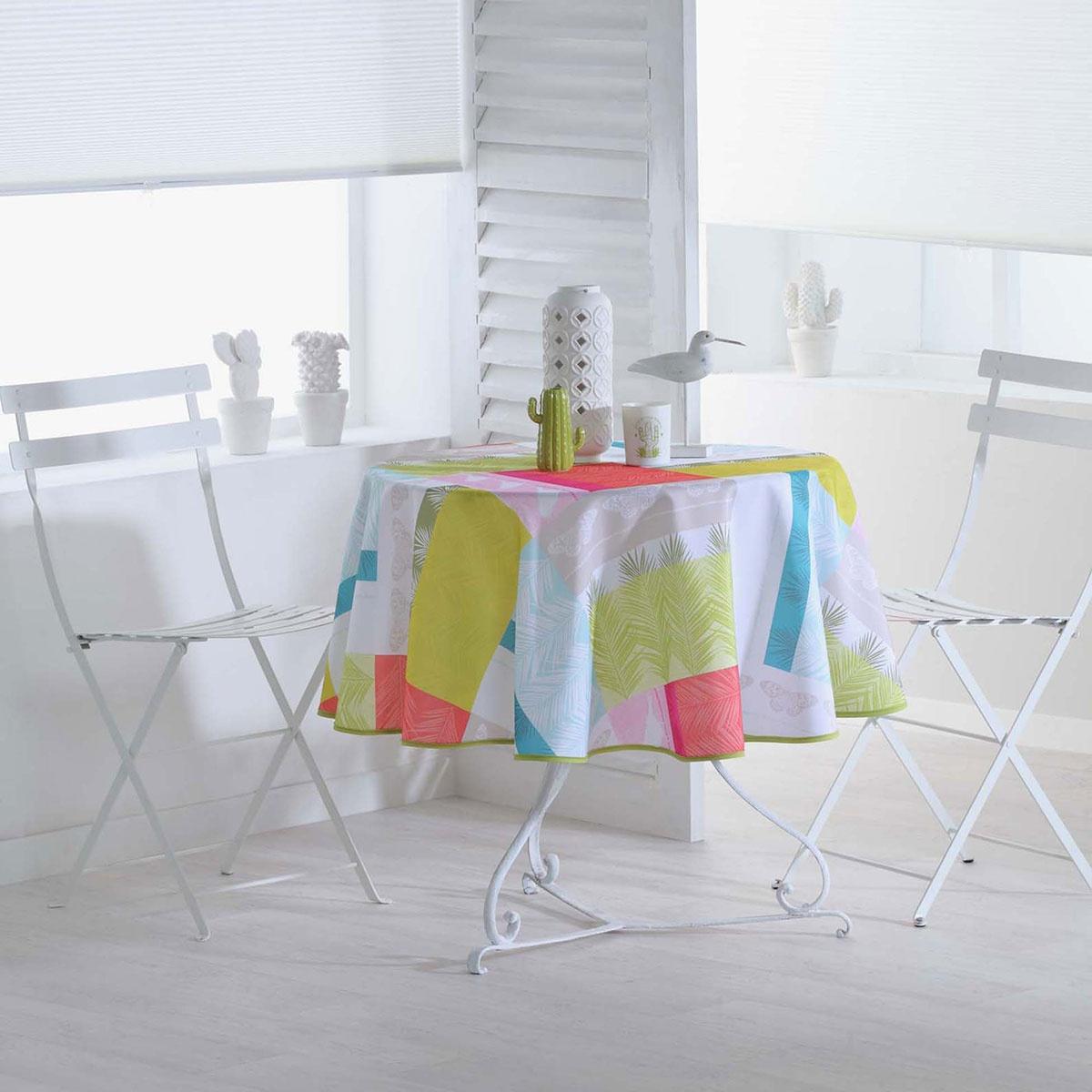 Nappe Ronde Colorée et Imprimée  (Multicolore)