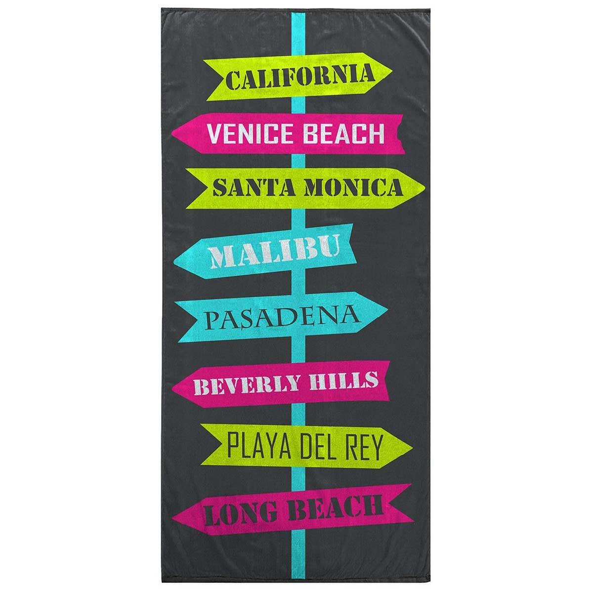 Serviette de Plage en Velours Imprimé (Multicolor)