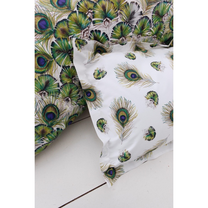 Taie d'oreiller Peacock (blanc / vert)