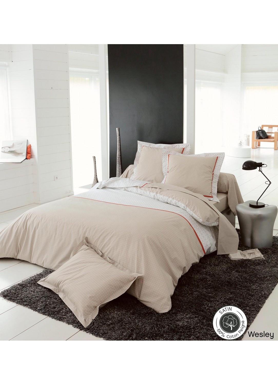 housse de couette wesley beige homemaison vente en ligne housses de couettes. Black Bedroom Furniture Sets. Home Design Ideas