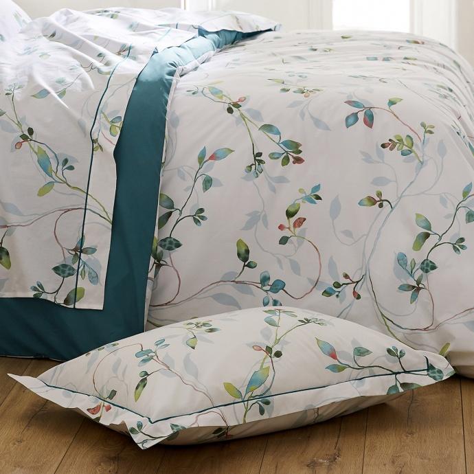 Taie d'oreiller imprimée de fleurs en aquarelle (Jade)