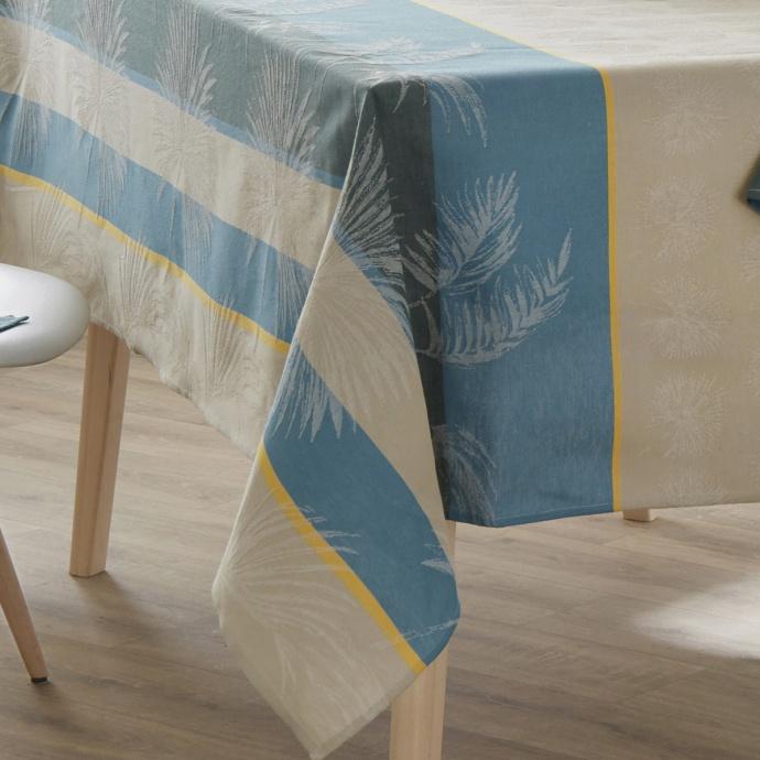 Mantel rectangular tropical de jacquard recubierto