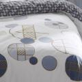 Parure de couette imprimée géométrie ronde (Blanc Bleu)