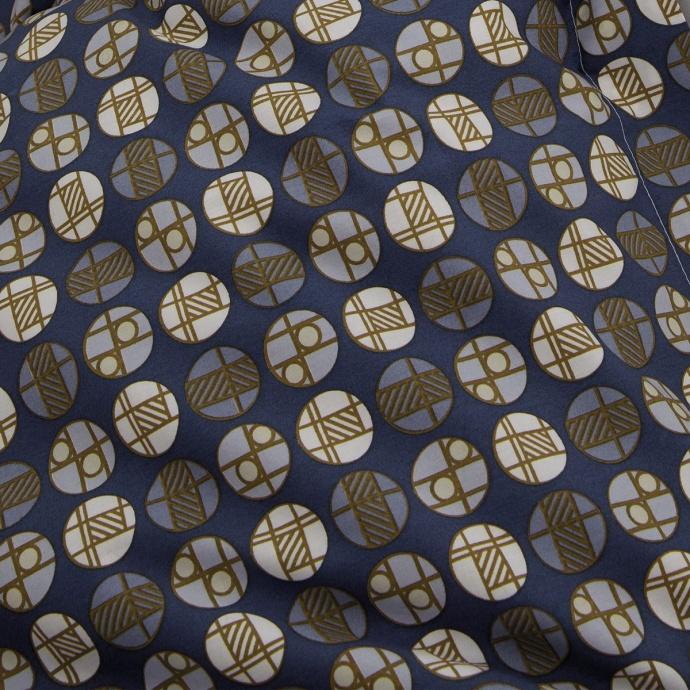 Parure de draps 5 pièces imprimée géométrie ronde (Bleu)